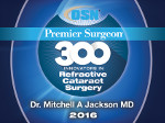 OSN Premier Surgeon 300 Innovators in Refractive Cataract Surgery Certificate badge granted to dr. Mitchell A. Jackson M.D. in 2016