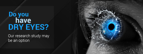 Jacksoneye ad banner with a splash in an eye. Do you have dry eyes? Our research study may be an option.