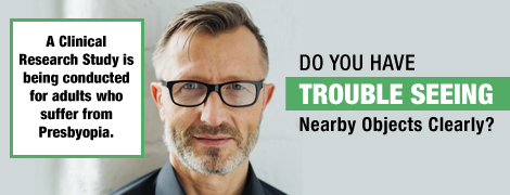 Ad banner with a man wearing glasses saying Do you have trouble seeing nearby objects clearly? A clinical research study is being conducted for adults who suffer from presbyopia.
