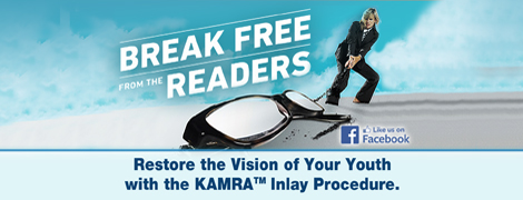 Jacksoneye ad banner with a woman dragging huge glasses. Break Free from the readers. Restore the vision of your youth with the KAMRA (tm) inlay procedure.
