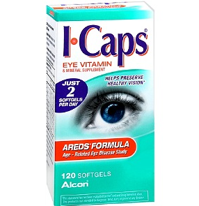 A pack of ICaps Eye Vitamin and Mineral Supplement Age Related Eye Disease Study Formula
