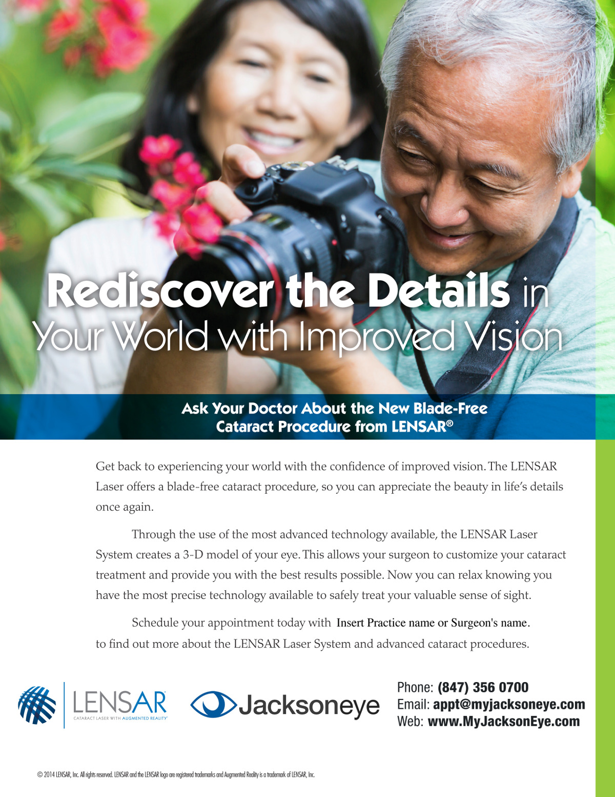 Jacksoneye LENSAR Cataract Surgery Ad with a couple taking pictures with a dslr