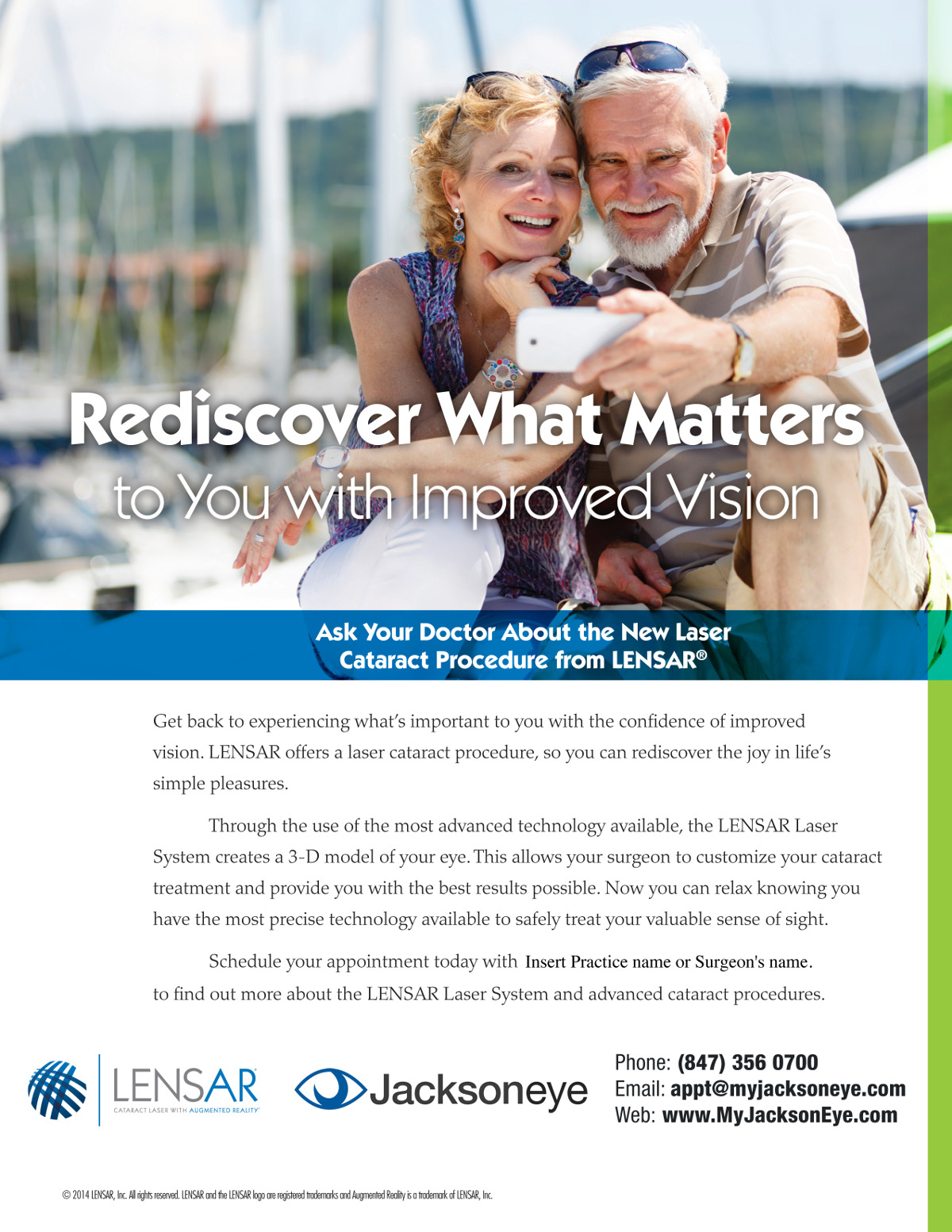 Jacksoneye LENSAR Cataract Surgery Ad with a couple taking selfie