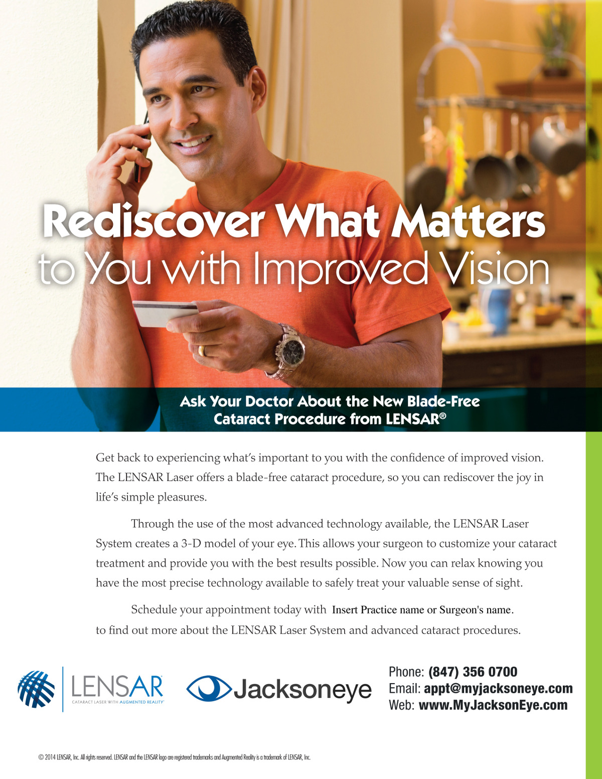 Jacksoneye LENSAR Cataract Surgery Ad with a man talking on the phone