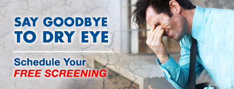 A man rubbing one's eyes. Say Goodbye to dry Eye. Schedule your free screening at Jacksoneye, Lake villa, Il.